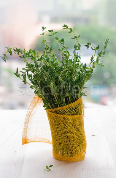 Köteg friss aromás levél növény fűszer Stock fotó © sarsmis