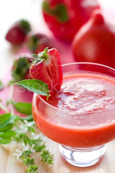 Heerlijk soep koud vruchten zomer tomaat Stockfoto © sarsmis