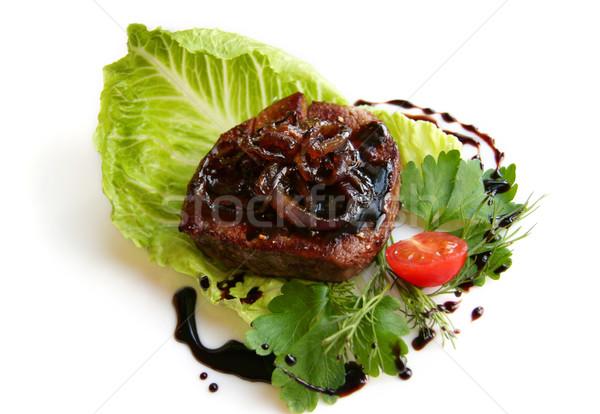 Bifsztek balzsam mártás filé steak étel Stock fotó © sarsmis