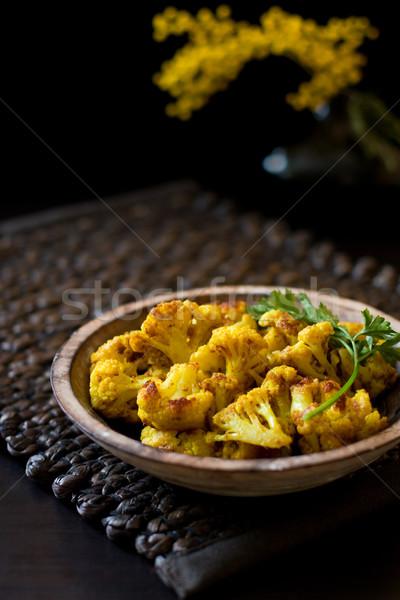 жареный цветная капуста пряный пластина приготовления желтый Сток-фото © sarsmis