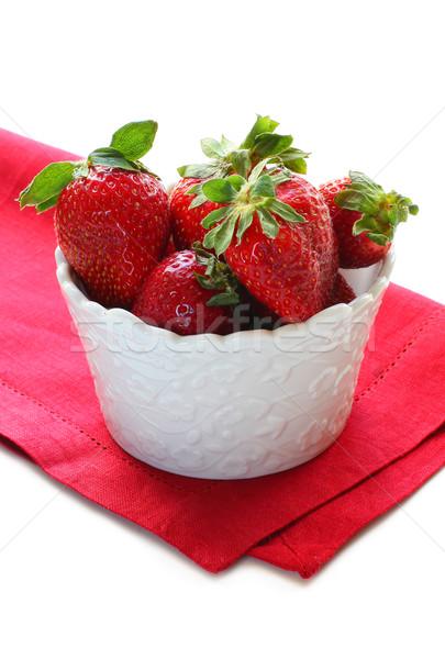 Eper friss eprek tál piros desszert Stock fotó © sarsmis