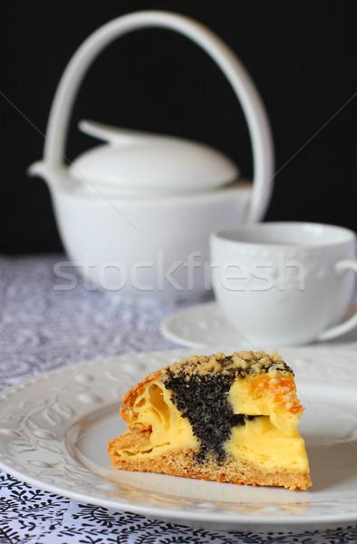 Amapola semillas torta pieza alimentos placa Foto stock © sarsmis