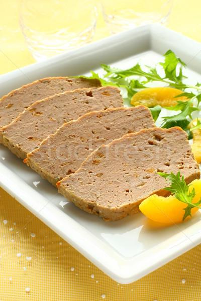 Carne melocotón ensalada adornar placa Foto stock © sarsmis
