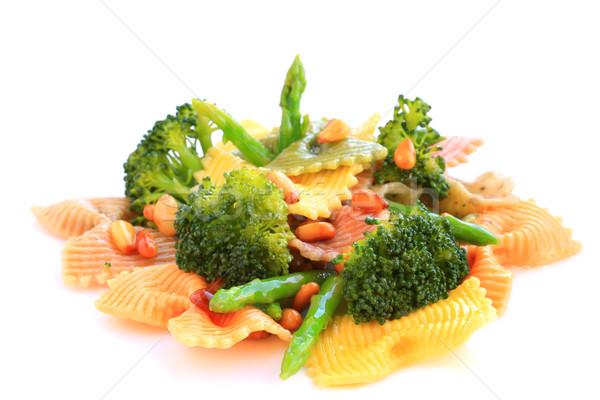 Tészta spárga brokkoli diók háttér fehér Stock fotó © sarsmis