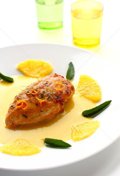 Poitrine de poulet sauge orange sauce viande repas Photo stock © sarsmis