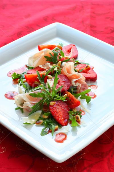 Eper saláta eprek sonka étel sajt Stock fotó © sarsmis