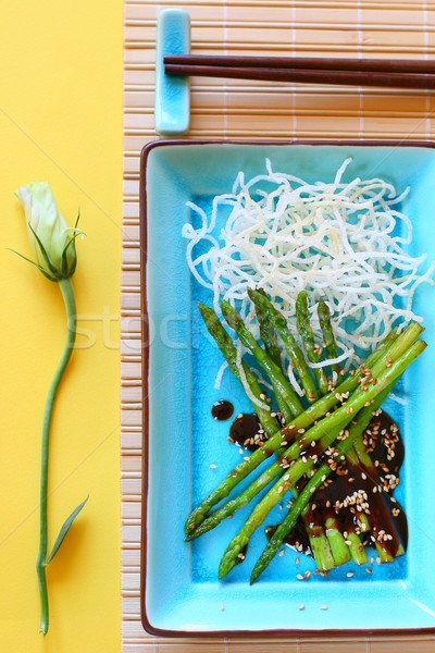 Asperges rijst groene sojasaus Stockfoto © sarsmis