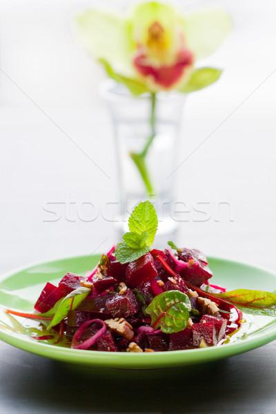 Burak Sałatka obiedzie obiad orzech mięty Zdjęcia stock © sarsmis