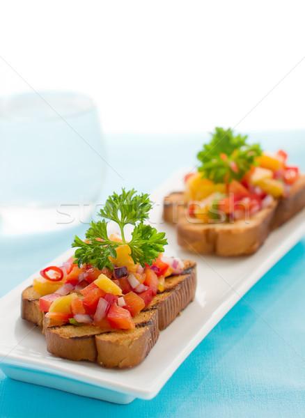 Mango salsa meyve ekmek tost soğan Stok fotoğraf © sarsmis