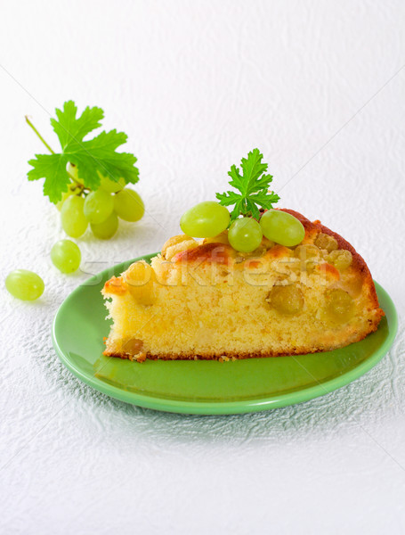 Casero galleta torta uvas verdes alimentos placa Foto stock © sarsmis