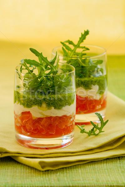 Meze pesto gözlük parti domates zeytin Stok fotoğraf © sarsmis