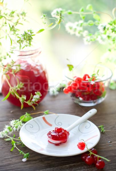 Vermelho groselha congestionamento caseiro colher comida Foto stock © sarsmis