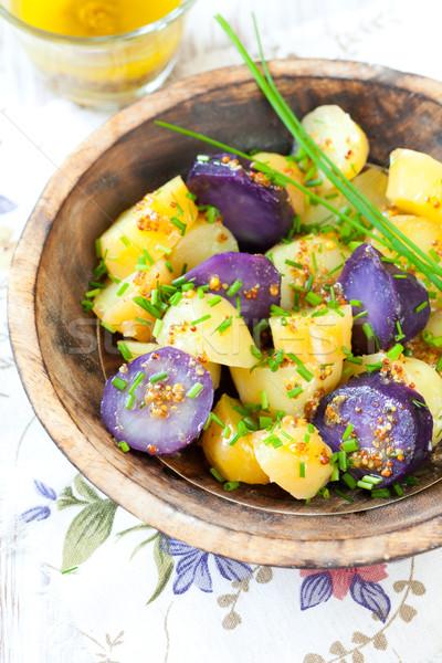 Burgonyasaláta mustár öntet villa eszik olajbogyó Stock fotó © sarsmis