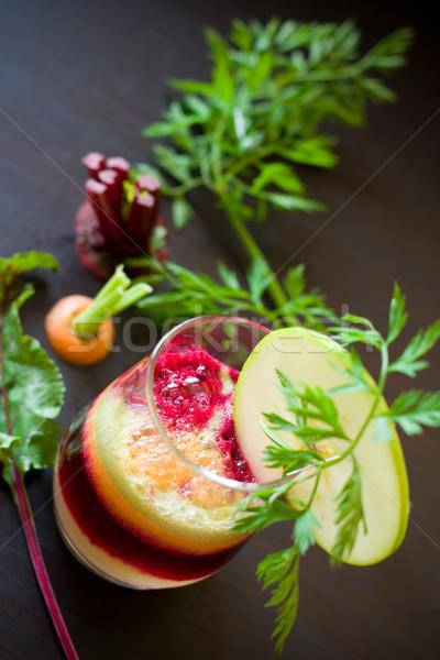Gyümölcs zöldség dzsúz friss cékla ital Stock fotó © sarsmis