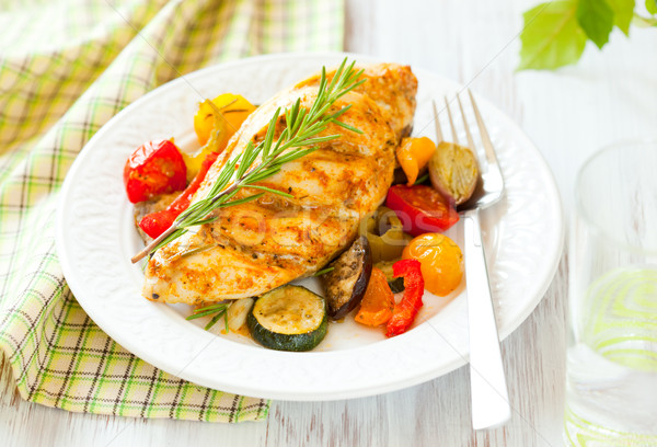 chicken breasts  and vegetables Stock photo © sarsmis