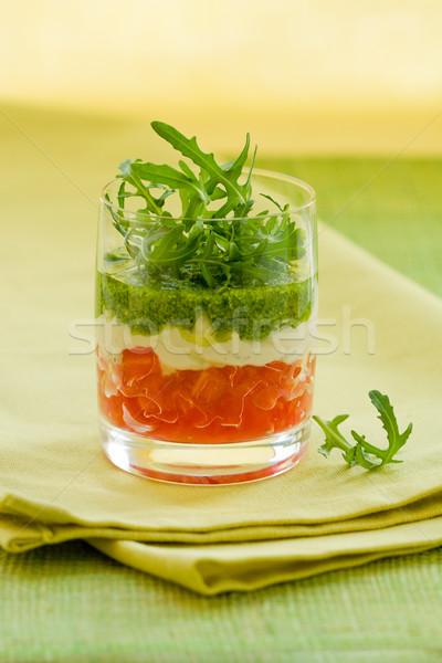 Apéritif pesto verres fête tomate olive Photo stock © sarsmis