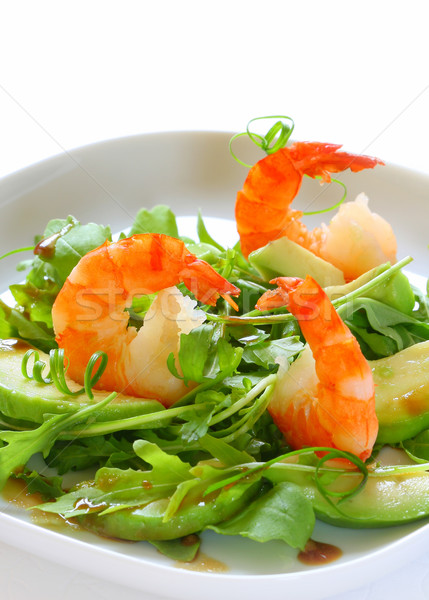 Salad with shrimps and avocado Stock photo © sarsmis