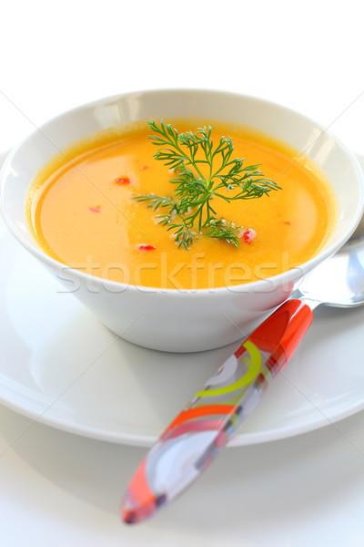 Citrouille soupe vert dîner plaque liquide Photo stock © sarsmis