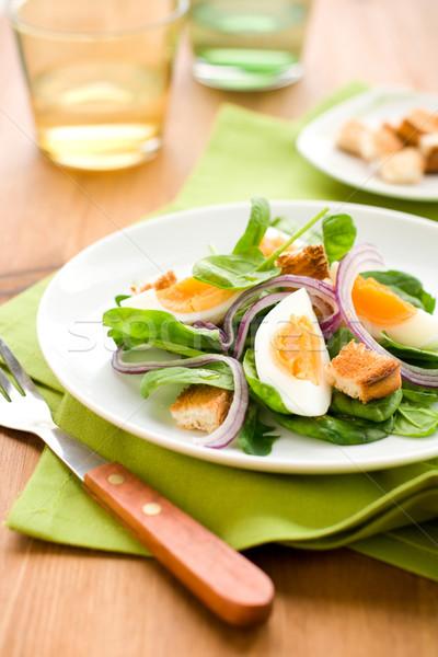 Salade spinazie ei brood lunch maaltijd Stockfoto © sarsmis