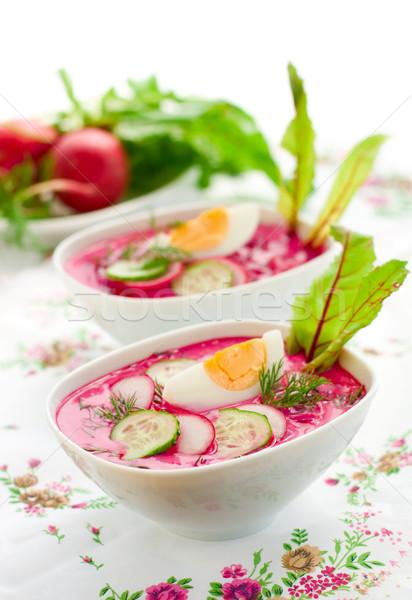 Soğuk çorba yaz salatalık yumurta sebze Stok fotoğraf © sarsmis