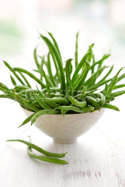 Haricots verts fraîches bol vert légumes jardinage Photo stock © sarsmis