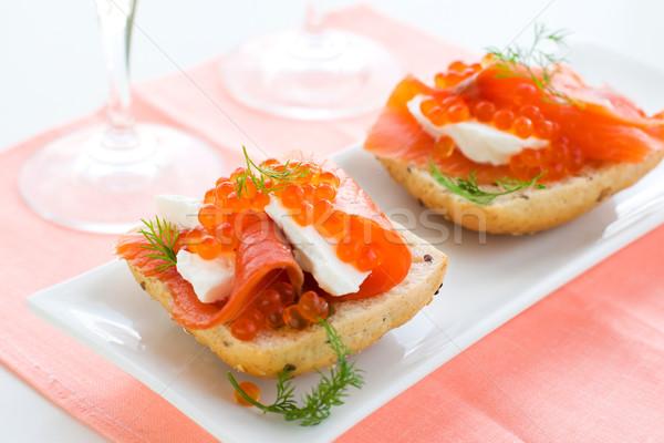 Salmón aperitivo rojo caviar delicioso frescos Foto stock © sarsmis