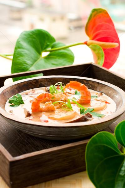 thai soup with prawn and scallop Stock photo © sarsmis