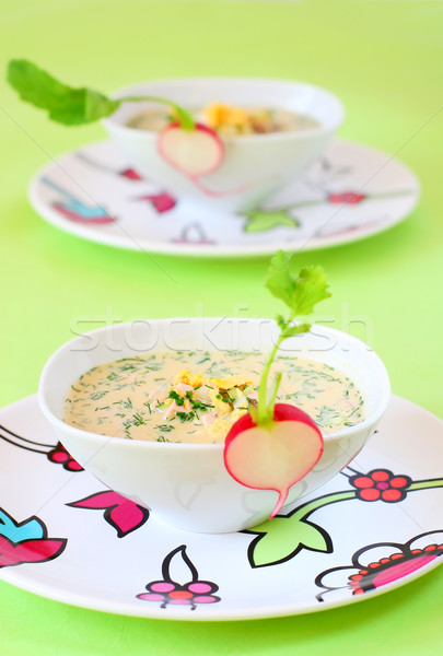 summer cold soup( okroshka) Stock photo © sarsmis