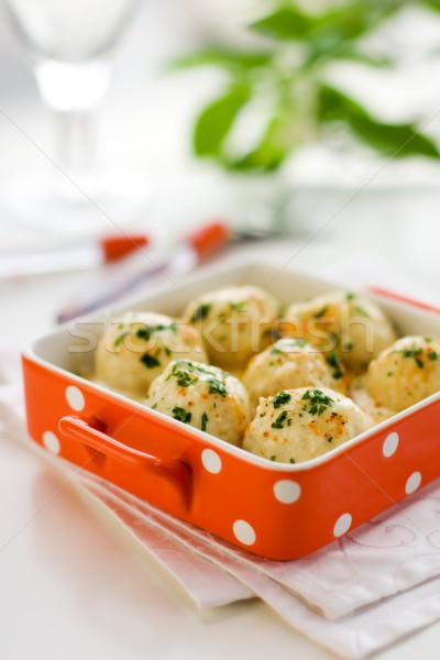 Boulettes de viande sauce Turquie fraîches herbe dîner Photo stock © sarsmis