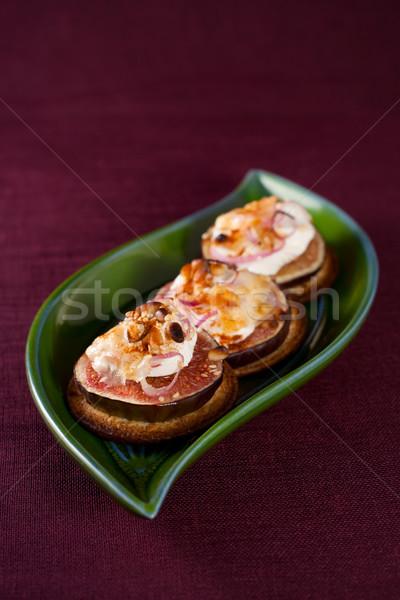 Kaas heerlijk voorgerechten geit zoete ui Stockfoto © sarsmis