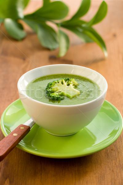 Broccoli soep kom romig groene lepel Stockfoto © sarsmis