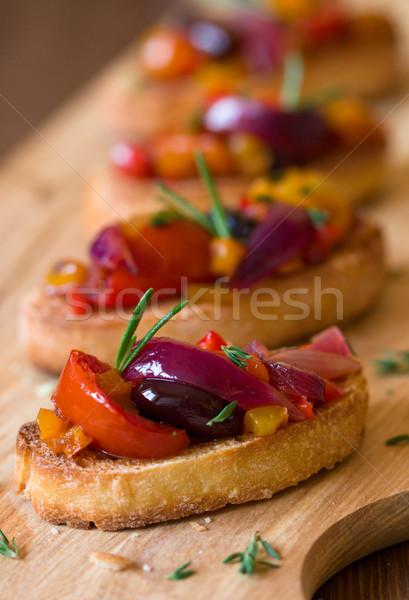 Bruschetta with roasted vegetables Stock photo © sarsmis