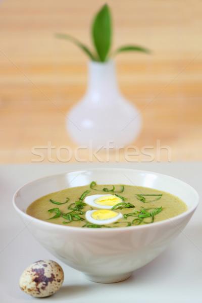 Spenót leves tojás zöld vacsora tál Stock fotó © sarsmis