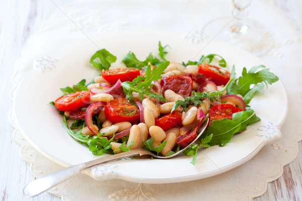 Frijol ensalada cereza alimentos placa Foto stock © sarsmis