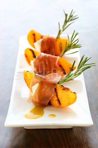 前菜 焼き 桃 ハム ヤギ乳チーズ 食品 ストックフォト © sarsmis