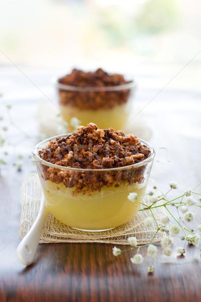 Körte csokoládé mandulák étel gyümölcs dió Stock fotó © sarsmis
