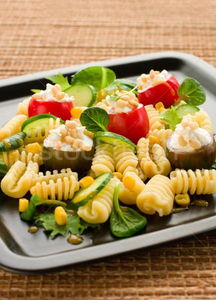 Pâtes salade fromages pin écrou dîner Photo stock © sarsmis