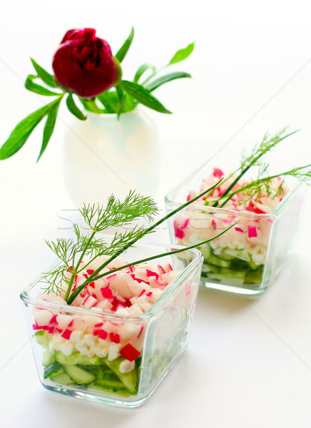 cottage cheese and fresh vegetables  Stock photo © sarsmis
