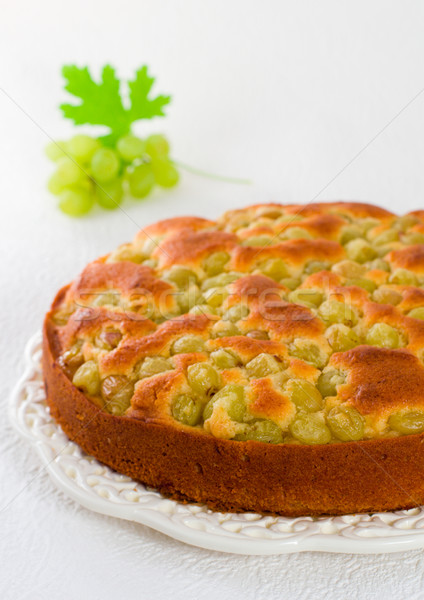 homemade biscuit cake with green grapes Stock photo © sarsmis