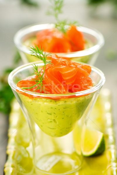 Avocat crème saumon verres fête poissons Photo stock © sarsmis
