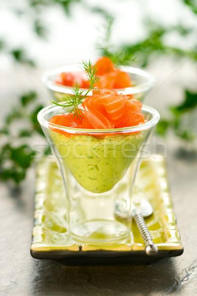 Avokádó krém lazac szemüveg hal üveg Stock fotó © sarsmis