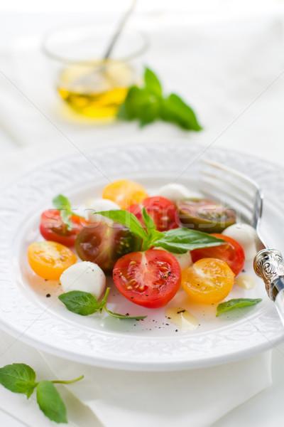 Caprese salatası mozzarella domates taze fesleğen çatal Stok fotoğraf © sarsmis