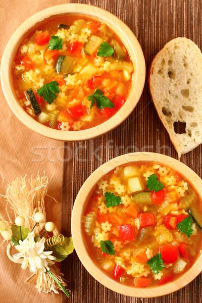 Sopa delicioso pan alimentos cena pasta Foto stock © sarsmis