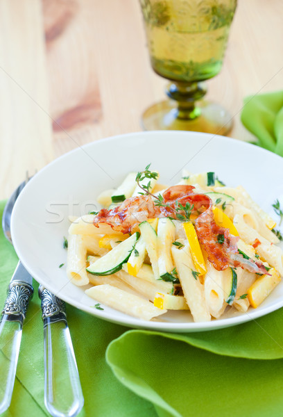 courgette pasta carbonara Stock photo © sarsmis