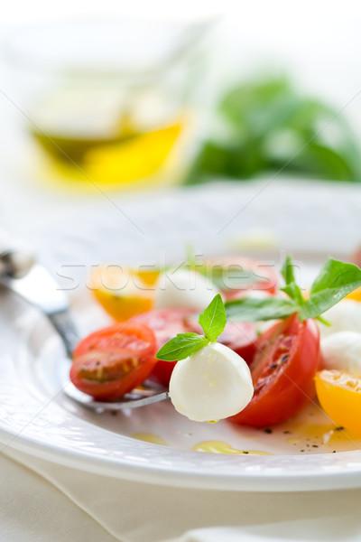 салат Капрезе моцарелла помидоров свежие базилик вилка Сток-фото © sarsmis