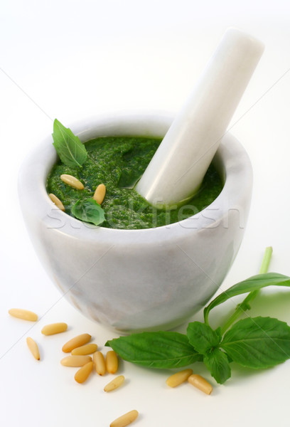 Pesto ingredientes pasta tuerca especias italiano Foto stock © sarsmis