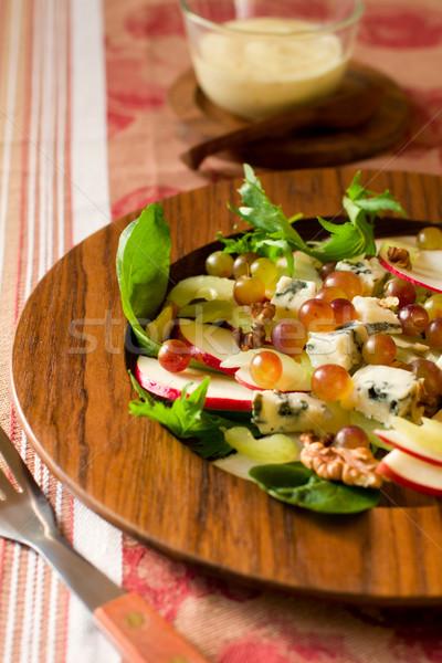 Friss saláta almák szőlő zeller márványsajt Stock fotó © sarsmis
