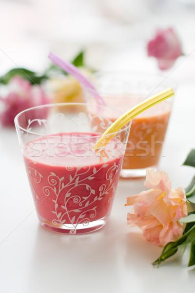 Gyümölcs különböző bogyós gyümölcs koktél reggeli barack Stock fotó © sarsmis