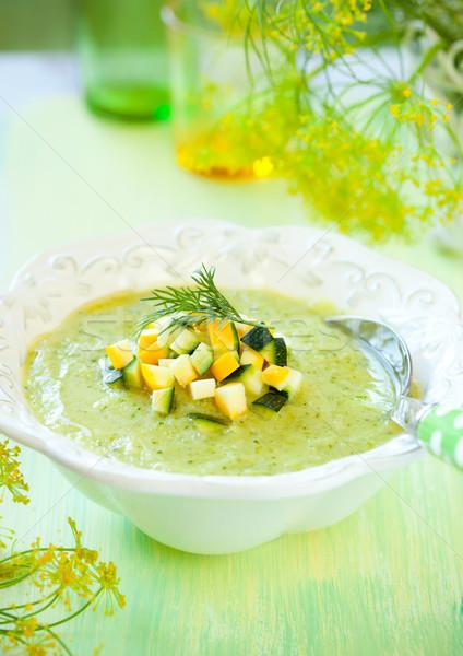 Calabacín sopa tazón delicioso alimentos verde Foto stock © sarsmis