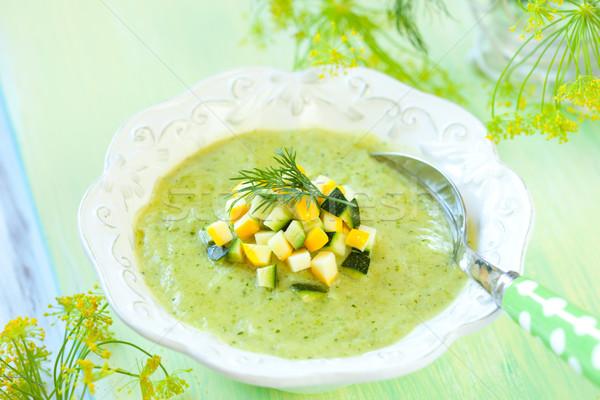 Calabacín sopa delicioso crema alimentos verde Foto stock © sarsmis